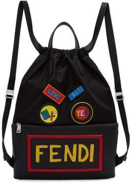 Fendi Black Nylon Vocabulary Drawstring Backpack