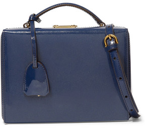 Mark Cross Grace Small Patent-leather Shoulder Bag - Navy