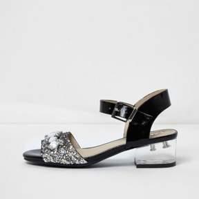 River Island Girls black embellished clear heel sandals