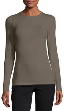 Neiman Marcus Majestic Paris for Soft Touch Flat-Edge Long-Sleeve Crewneck Top