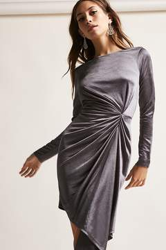 Forever 21 Asymmetrical Satin Ruched Dress
