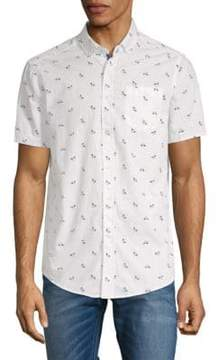 Report Collection Bicycle-Print Cotton Button-Down Shirt