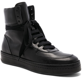 Ann Demeulemeester Leather High Top Sneakers in Black.