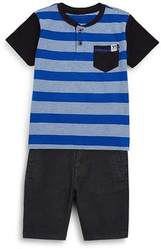 Joe's Jeans Little Boy's Two-Piece Striped Cotton Henley and Shorts Set