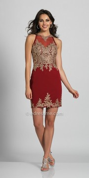 Dave and Johnny Sleeveless Mesh Embroidered Fitted Cocktail Dress