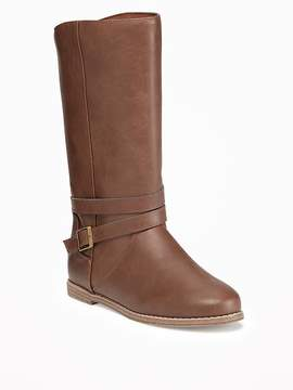 Old Navy Tall Faux-Leather Buckled Boots for Girls
