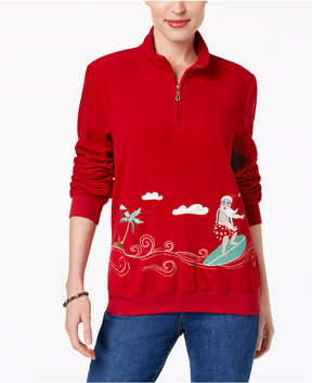 Alfred Dunner Embroidered Santa Holiday Sweater