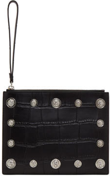 Versus Black Croc Lion Medallion Pouch