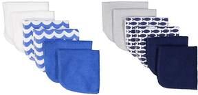 Luvable Friends Blue Fish Wash Cloth - Set of 12