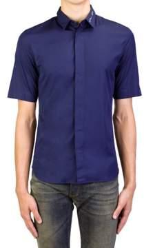 Christian Dior Men's Script Sign-off Collar Cotton Dress Shirt Navy Blue