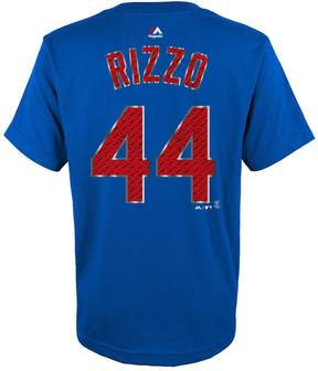 Majestic Boys 8-20 Chicago Cubs Anthony Rizzo Metal Grid Player Name and Number Tee