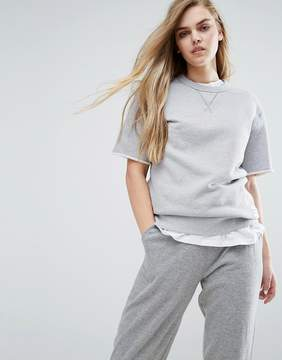 Converse Essentials Short Sleeve Sweat In Gray