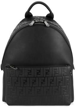 Fendi Black Logo-embossed Leather Backpack