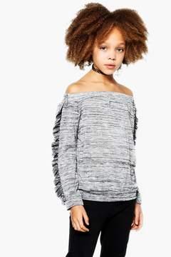 boohoo Girls Sparkle Fabric Bardot Top