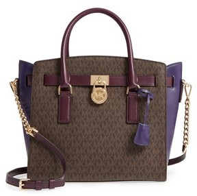 MICHAEL Michael Kors Large Hamilton Leather Satchel - Brown - BROWN - STYLE