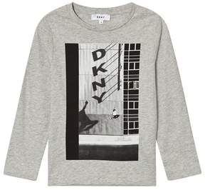 DKNY Grey Marl Shadow Branded Long Sleeve T-Shirt