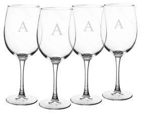 Cathy's Concepts Personalized Etched Wine Glasses- 19oz./Set of 4