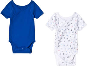 Petit Bateau Pack of 2 Blue and White Anchor Print Bodies