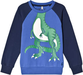 Joules Blue and Navy Sleeve Dino Sweatshirt