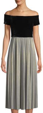 Donna Morgan Velvet-Bodice Off-The-Shoulder Dress