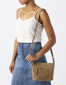 Zoey Zip Pocket Leather Cross Body Bag