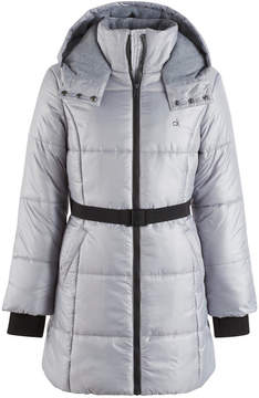 Calvin Klein Vail Hooded Belted Puffer Jacket, Big Girls (7-16)