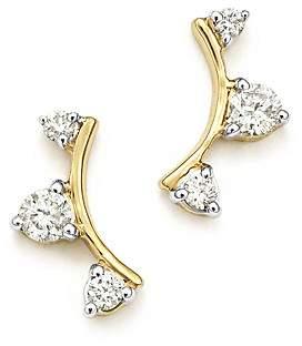 Adina 14K Yellow Gold Diamond Amigos Curved Triple Diamond Stud Earrings