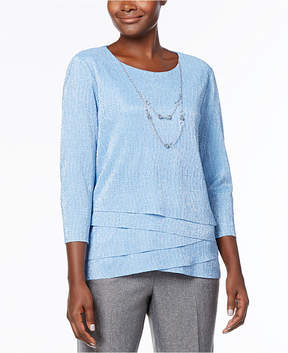 Alfred Dunner Silver Bells Tiered Metallic-Knit Necklace Top