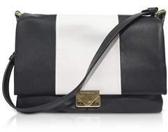 Emporio Armani Women's White/black Leather Shoulder Bag.
