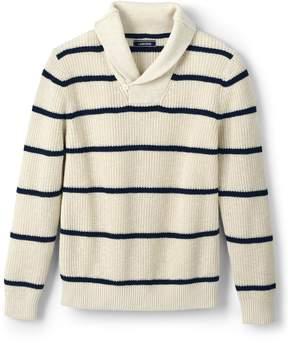 Lands' End Lands'end Men's Stripe Linen Cotton Texture Shawl Pullover Sweater