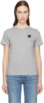 Comme des Garcons Grey and Black Small Heart Patch T-Shirt