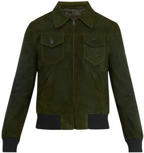 Prada Point-collar suede bomber jacket