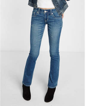 Express low rise thick stitch distressed stretch barely boot jeans