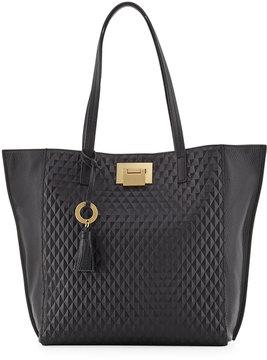 Badgley Mischka Blanche Diamond-Textured Leather Tote Bag, Black