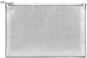 Aspinal of London Large Essential Flat Pouch In Silver Saffiano Smooth Black