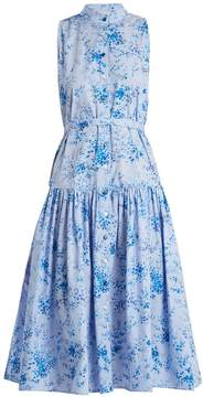 Carolina Herrera Floral-print stand-collar gingham dress
