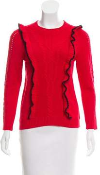 Draper James Ruffled Cable Knit Sweater