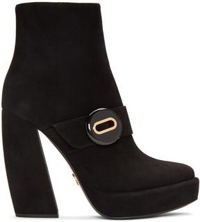 Prada Black Suede Button Boots