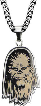 Star Wars FINE JEWELRY Chewbacca Mens Etched Stainless Steel Pendant Necklace