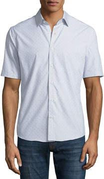 Neiman Marcus Slim-Fit Clip-Dot Short-Sleeve Sport Shirt