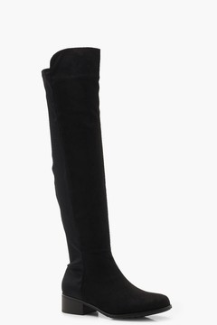 boohoo Eve Elastic Back Flat Over Knee Boot