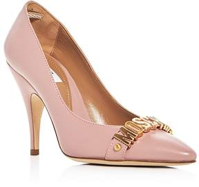 Moschino Logo Pointed Toe Pumps
