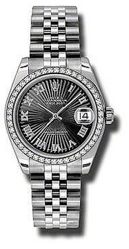 Rolex Datejust Lady 31 Black Sunburst Dial Stainless Steel Jubilee Bracelet Automatic Watch