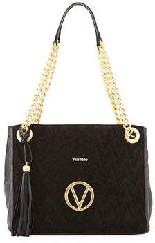 Mario Valentino Valentino By Luisa Suede/Leather Quilted Tote Bag