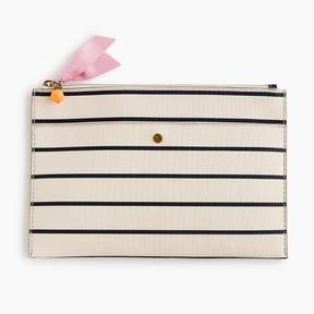 Large striped pouch in coated canvas