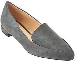 Isaac Mizrahi Live! Suede Loafers with HeelHardware Detail
