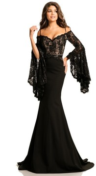 Johnathan Kayne 7244 Bell Sleeve Off-Shoulder Lace Gown