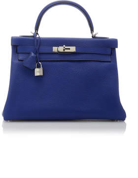 Hermes Vintage by Heritage Auctions 32cm Blue Electric Clemence Leather Retourne Kelly