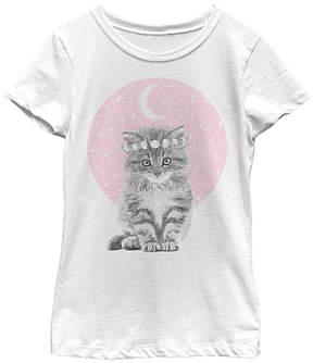 Fifth Sun White & Pink Mystic Kitten Tee - Girls
