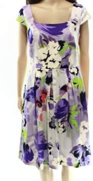 Nine West Women's Fit & Flare Floral Dress (Viola Combo, 12)